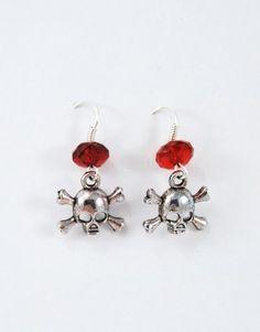 €5.00 Σκουλαρίκια με μεταλλικές νεκροκεφαλές και κόκκινη ακρυλική χάντρα. Drop Earrings, Jewelry, Fashion, Moda, Jewlery, Jewerly, Fashion Styles, Schmuck, Drop Earring