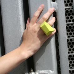 by fruitsuper Design - It's bold, it's beautiful and it's shaped like a huge gemstone! The designers at fruitsuper have created this playful conversation piece as part of their SBiR series. This chiseled chartreuse ring is made from 100% silicone, making it flexible, durable and shockingly comfortable. 16$