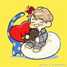 kookie x tata Bts Chibi, Bts Now, V Cute, Bts Drawings, Bts Fans, Kpop Fanart, I Wallpaper, Daegu, Bts Pictures