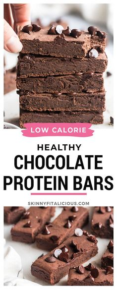 Healthy Chocolate Protein Bars are low calorie made with 6 real food ingredients and no added sugar. #healthy #chocolate #protein #bars #lowcalorie #glutenfree #sugarfree #dessert #snack Protein Bar Recipes, Protein Snacks, Healthy Snacks, Snack Recipes, Healthy Cooking, Paleo Recipes, Chocolate Protein Bars, Healthy Chocolate, Healthy Low Calorie Meals