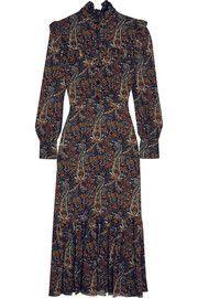 Ruffled paisley-print crepe midi dress