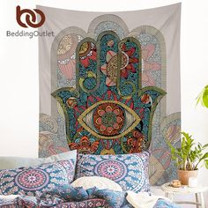 [Visit to Buy] BeddingOutlet Hamsa Hand Tapestry Indian Mandala Floral Wall Hanging Tapestry for Home Psychedelic Bedspread Art Carpet 2 Sizes #Advertisement