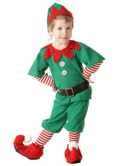 Giving gifts and baking cookies... all will be way more fun when they go in this Toddler Happy Christmas Elf Costume!