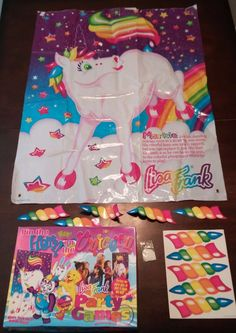 Lisa Frank Pin the Horn on the Unicorn Party Game Markie With Box Vinyl Poster #LisaFrank #BirthdayChild