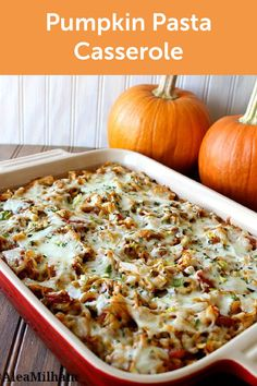 Great for chilly fall evenings, this quick and easy Pumpkin Pasta Casserole recipe is a comforting combination of tomato sauce, oregano, thyme, basil, sage, rosemary, and melted cheese.