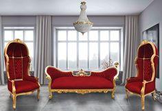 Baroque Napoléon III sofa black faux leather and black shine wood