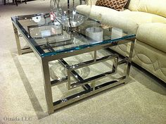 Living Room Table Glass Awesome Glass Chrome Coffee Table Art Deco Home Stainless Steel Coffee Table, Steel Table, Contemporary Coffee Table, Modern Coffee Tables, Glass Coffee Tables, Square Glass Coffee Table, Silver Coffee Table, Decorating Coffee Tables, Coffee Table Design