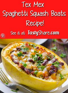"""Try natures healthy way of eating """"spaghetti"""" these Tex -mex spaghetti squash boats are a funky twist on spaghetti and Mexican, try one for yourself they are delicious!"""