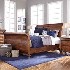 Camden Wood Sleigh Bed in Cognac by Aspenhome
