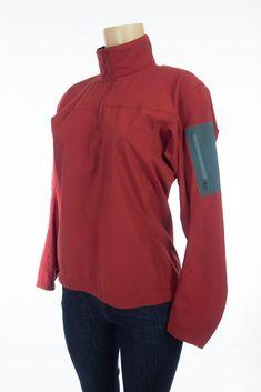 ARCTERYX Damen 1/2 Zip M Med Sangria Nylon Softshell Pullover Jacket Stretch #Arcteryx #12Zip #Outdoor