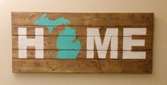 HOME Wood Wall Art With Michigan Image