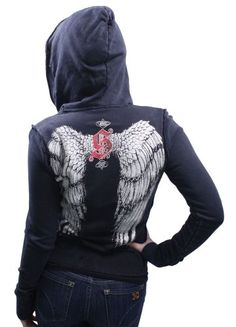 SINFUL by Affliction Angel Wings Zip Up Womens Hoodie