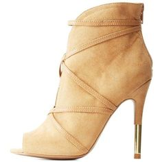 Charlotte Russe Sand Qupid Caged Peep Toe Stiletto Booties by Qupid at... ($41) ❤ liked on Polyvore featuring shoes, boots, ankle booties, sand, back zipper boots, stiletto booties, peeptoe boots, high heels stilettos and caged boots