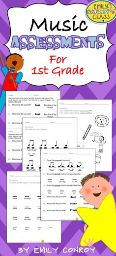 This set includes 13 assessments for first grade music students and one cumulative assessment to use as a pre or post-assessment! Music Journal, Middle School Music, Music Education, Elementary Music Lessons, Upper Elementary, Music Classroom, Music Teachers, 2nd Grade Music, Music Activities