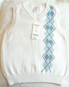 Gymboree Vest Boys XS 3 4 Sweater Argyle White Blue Cotton Sleeveless NWT #Gymboree #Vest #DressyEverydayHoliday