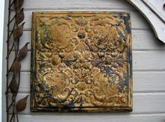 Tin Ceiling Tile. Antique Circa 1908. FRAMED by DriveInService