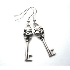 Gothic Skull Skeleton Key Dangle Earrings Vamps Jewelry Gothic... ($50) ❤ liked on Polyvore featuring jewelry, earrings, earring jewelry, victorian jewelry, skeleton jewelry, long earrings and skull jewellery