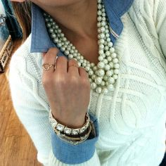 Chambray and pearls = Classy and chic! Chambray Top Hollister {similar… see more below} / Cable Knit Sweater Target {similar… see more below} / Hammock Pearl Necklace J.Crew / Heart Ring Gigglosophy