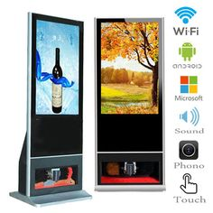 indoor floor stand digital signage with shoe polishing machine