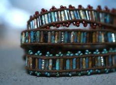 Wrap Bracelet of Czech bugle beads by FlowSilverJewelry