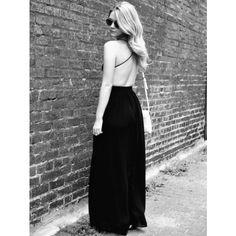 V-neck Cami Straps Backless Maxi Dress ❤ liked on Polyvore featuring dresses, v neck dress, strappy dress, v neck maxi dress, strap dress and v-neck camisoles
