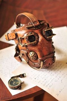 (via Leather steampunk gas mask. by ~DenBow on deviantART)