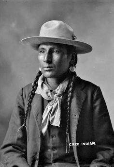 An unidentified man of the Cree Nation,  circa 1900. No additional information.