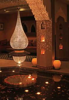 Gorgeous Moroccan Chandelier illuminates this Moroccan Architecture & Design