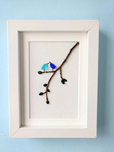 Unframed 5 by 7sea glass bird pebble art mother's day