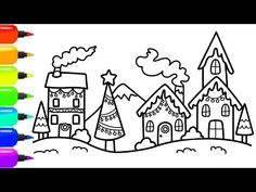 8ffe0a5a7b94 How to Draw a Colorful Christmas Village Scene for Christmas - Christmas  Coloring Page for Kids - YouTube