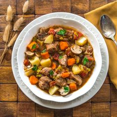 Classic Pork Stew…a delicious and hearty fall meal with pork, carrots, potatoes, leeks, and mushrooms