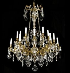 Large Antique Bronze Crystal Chandelier French Empire Vintage Glass Gold Gilded | eBay  %5995