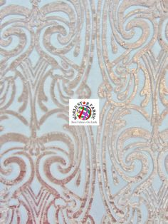 "Peach Angel Damask Sequins Sheer Lace Fabric 54"" Width Sold By The Yard"