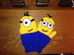 """Minion Mittens -yarn and pattern details on my Ravelry site - with """"lifeline gusset"""" -- see technique on my Ravelry page."""