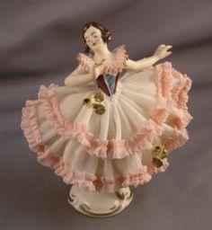 Dresden Porcelain Lace Ballerina -West Germany 1950s