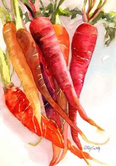 7x5 watercolor on 140 lb Fabriano hot press paper of a bunch of assorted carrots alive with pale yellow gold to hot orange and royal red. ...