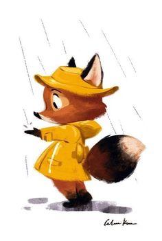 Renard + Pluie + ciré jaune ++ Art of Celine Kim- illustration fox in yellow raincoat Cute Illustration, Character Illustration, Illustration Artists, Animal Drawings, Cute Drawings, Cute Owl Drawing, Drawing Animals, Drawing Sketches, Fox Art