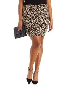 Plus Size Leopard Print Bodycon Skirt