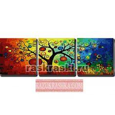 Триптих по номерам Menglei «Дерево богатства». Купить за 2650 р. в магазине Разукрашка.