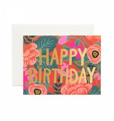 Rifle Paper Co | Happy Birthday Greeting Card | Gold Floral Floral Poppy Birthday Available as a Single Folded Card or Boxed Set of 8