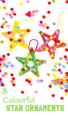 Colourful pom pom popsicle stick stars will look amazing hanging on your Christmas tree or as a bright and cheery bedroom or nursery display all year round. Christmas Arts And Crafts, Kids Christmas Ornaments, Christmas Activities For Kids, Christmas Projects, Winter Christmas, Holiday Crafts, Christmas Tree, Children Activities, Spring Crafts
