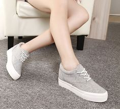 Fashion Womens Round Toe Canvas Sneakers Lace Up Flat Heel Platform Shoes Size