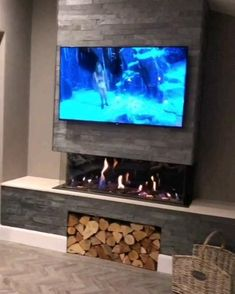 Living Room Decor Fireplace, Fireplace Tv Wall, Modern Fireplace, Fireplace Design, 3 Sided Fireplace, Fireplace Inserts, Living Room Remodel, Home Living Room, Modern Tv Room