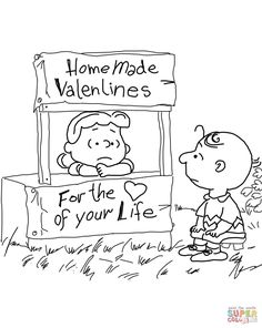 Peanuts Valentine's Day coloring page from Peanuts category. Select from 31983 printable crafts of cartoons, nature, animals, Bible and many more. Valentines Day Coloring Page, Valentine Day Crafts, Vintage Valentines, Valentine Ideas, Christmas Crafts, Free Adult Coloring, Coloring Sheets For Kids, Kids Colouring, Colouring Sheets