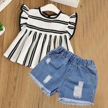 Short Pant 3PCS Sets Clothes 2-7Years Kid Girl Summer Floral Hat Chiffon Top