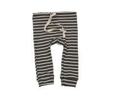 organic cotton drawstring striped leggings - charcoal/natural