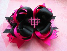 Over the Top boutique hair bow pink hair bow black hair bow heart hair bow glitter sparkle princess. $8.00, via Etsy.