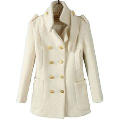 Beige Notch Lapel Long Sleeve Epaulet Buttons Coat ($66) ❤ liked on Polyvore featuring outerwear, coats, jackets, coats & jackets, sheinside, beige, long sleeve coat, leather-sleeve coats, short sleeve coat and short coat