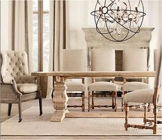 Farmhouse Kitchen Table And Chairs Restoration Hardware 53 Ideas Dining Room Design, Dining Room Furniture, Dining Room Table, Table And Chairs, Dining Chairs, Room Chairs, Side Chairs, Reclaimed Wood Dining Table, Salvaged Wood
