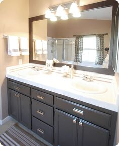 """paint color Valspar Latex """"Betsy Ross House Brown"""" in soft gloss kitchen and bath formula = perfect brown Bathroom Renos, Budget Bathroom, Bathroom Ideas, Bathroom Cabinets, Master Bathrooms, Bathroom Colors, Bath Ideas, Paint Bathroom, Farmhouse Bathrooms"""